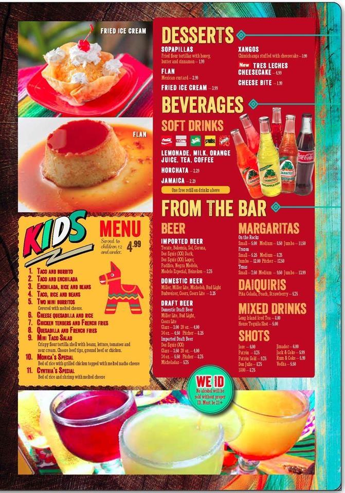 Drinks - Desserts - Kid's Menu